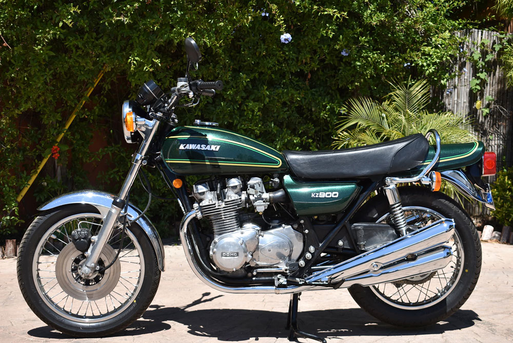 A 1976 Kawasaki KZ900, now for sale at Californiaclassix com!